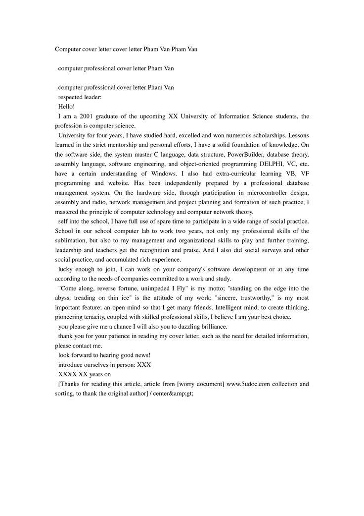 Computer cover letter cover letter Pham Van Pham Van DOC DOC by - computer professional resume