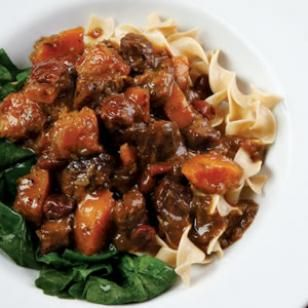 Sweet & Savory Beef Stew. With Butternut Squash and Dried Cherries, this hearty stew is only 400 calories per serving!