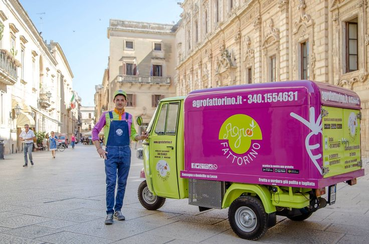 Fresh fruits and vegetables ordered online or by phone and brought to you on a Piaggio van designed for catering service. In the streets of the beautiful town of Lecce and surroundings you can see Agrofattorino bringing home sunshine and lots of flavour! #foodtruck #catering #piaggiovan #ape #foodvan #lecce #food