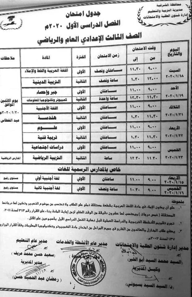 جدول امتحانات الصف الثالث الإعدادي نصف العام 2019 2020 بمحافظة الشرقية Sheet Music News