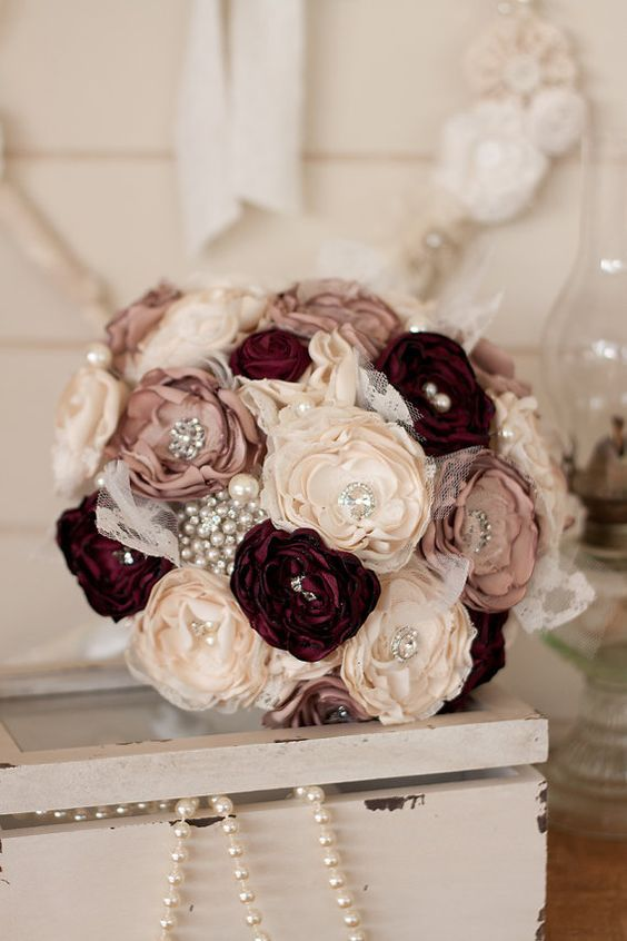 Dusty Pink and Burgundy Satin and Lace Bridal Bouquet / http://www.deerpearlflowers.com/vintage-pearl-wedding-ideas/