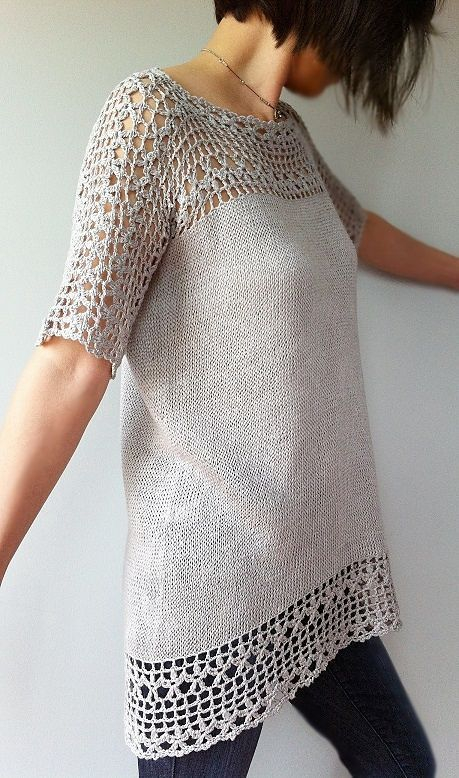 Combining crochet and knitting with sophisticated dimension, Julia is effortlessly stylish and feminine. The beautiful crocheted floral lace brings eye-catching details to the yoke, sleeves and hem. Knitted top-down directly from the lace yoke in the round, the Stockinette stitch body with its gentle A-line is simple to make and flattering to wear. The unique seamless construction creates a moderate high-low hemline that further adds a chic modern twist to this exquisite piece.: