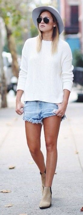 Cut off shorts + ankle boots.