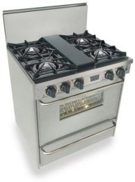"""$2,581 Model #: FiveStar TTN2607BW  Compare  FiveStar TTN-260-7BW 30"""" Pro-Style Gas Range with 4 Open Burners (1 Vari-Flame Simmer), 3.69 cu.ft. Manual Clean Oven and Broiler Oven, Stainless Steel"""