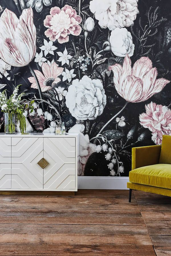 this wall covering is another thing that needs to go in the she cave, with a blush colored couch! Anewall Fleurir Mural