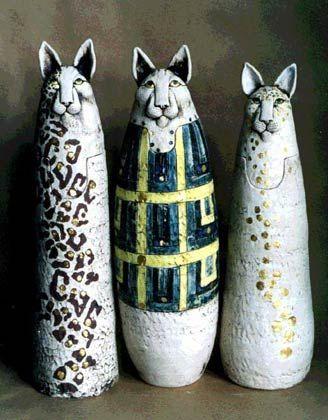 Cat Reliquaries by Lesley Anne Greene Ceramics