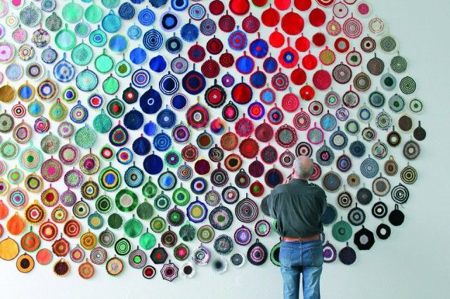 Wow. Tuominen's crochet potholder installation.Wall Art, Artists, Crochet Potholders, Colors, Glasses Art, Yarns Bombs, Anutuominen, Art Projects, Anu Tuominen