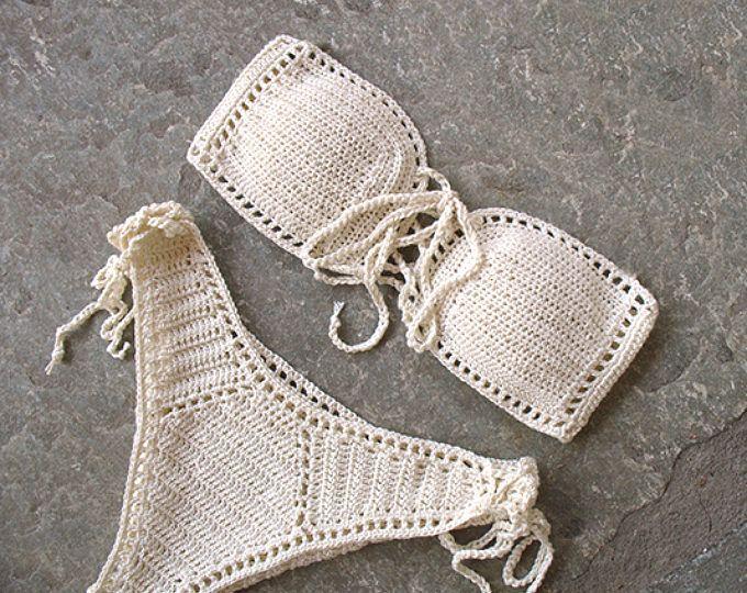 Bikiní del ganchillo vestido, sistema del bikiní del ganchillo, Bandeau bikini, traje de baño Bandeau del ganchillo, Bandeau bikini conjunto, bikini de talle alto, Brasil