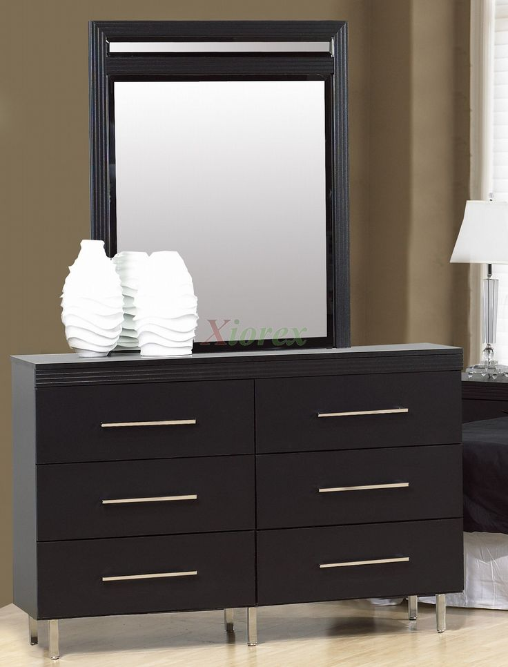 Dresser With Mirror Life Line Black Color With Lamp