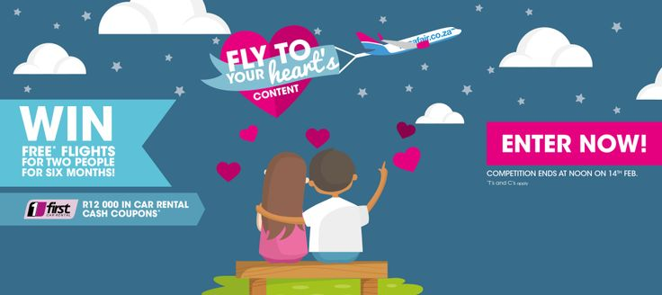 Win 6 Months of Free* Flights & R12 000 Car Rental Coupons from FlySafair and First Car Rental! http://swee.ps/OnUpqpPN