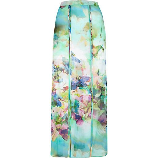 Green floral print split seam maxi skirt - maxi skirts - skirts - women