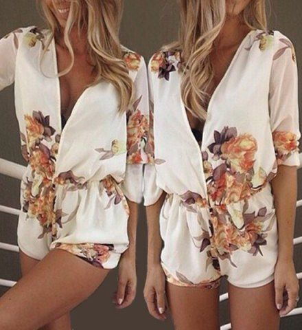 Stylish Plunging Neck Long Sleeves Floral Print Romper For Women Jumpsuits & Rompers | RoseGal.com Mobile