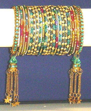 Indian, Indian Glass Bangles, Turquoise & Gold Jhumka Churi Choorian, Jewellery