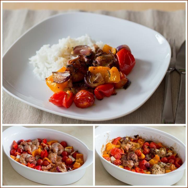 Kuřecí rychlovka z pekáče - tohle budu dělat častěji :-) 4 rajčata  2 červ cibule 1 červ paprika 1 žlutá paprika 4 kuřecí stehýnka bez kůže a kostí 4 stroužky česneku čerstvý tymián (i bazalky) 1 KL uzené papriky 2 PL oliv oleje 1-2 PL balzamik octa  Rajčata na čtvrtky, cibuli nakrájíme a papriky na větší kousky. Neoloup česnek rozdrtíme naplocho  Maso osolíme, se zeleninou do pekáčku, okořeníme, olej a ocet. promícháme a tak, aby kuře nebylo zakryté zeleninou. Pečeme hodinu na185°