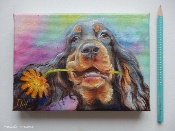 Gordon Setter, dog portrait, original oil painting on canvas  by CanisArtStudio #miniature #oilpainting #petportraits #flower #gift #doglovers #animal #art #canisartstudio