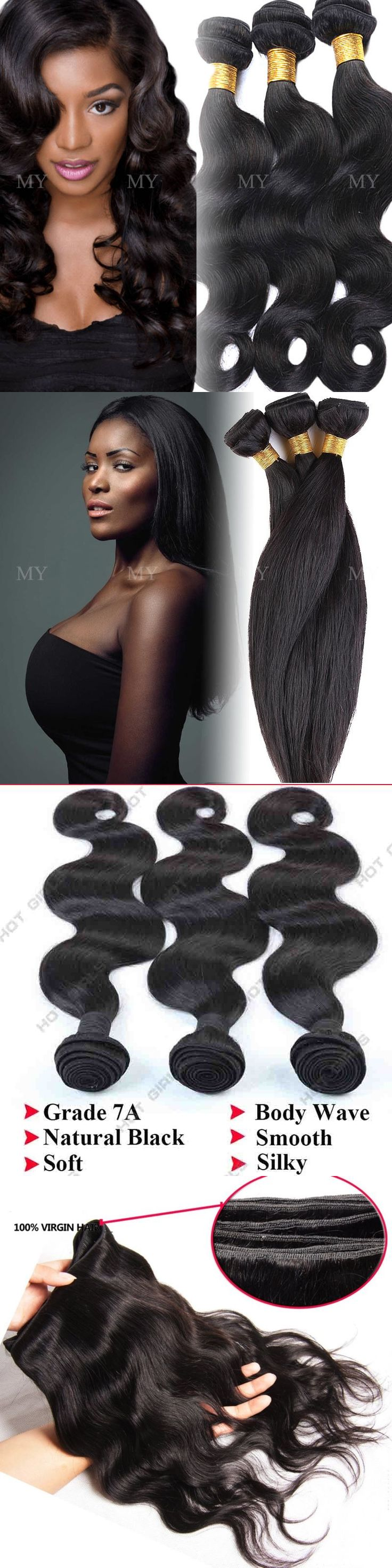 Hair Extensions: 300G Soft 3 Bundles Unprocessed 7A Virgin Human Hair Brazilian Weave Extensions -> BUY IT NOW ONLY: $94.2 on eBay!