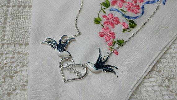 Love Birds Enamel and Silver tone Pendant by LucyLucyLemon on Etsy