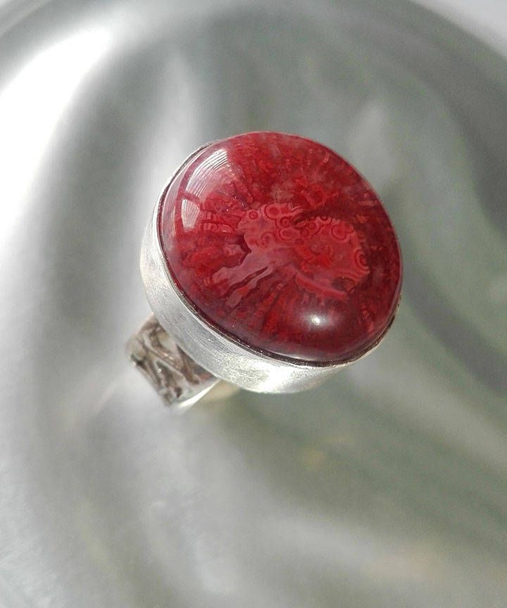 Red Stone Ring, Red Coral Fossil, Coral Silver Ring, Fossilized Coral Ring, Ring Size 7, Sterling and Coral, Ring with Stone, Natural Coral
