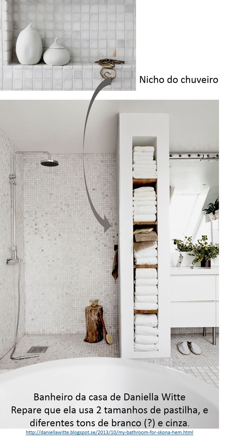I like this built-in towel storage idea next to shower. I would like glass  shower door on shower.
