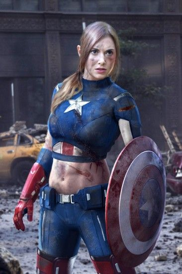 Someone did an awesome job photoshopping Community's Alison Brie as Captain America. What they failed to realize was she would have looked equally cool with her sensitive stomach region protected. (via ScreenRant)