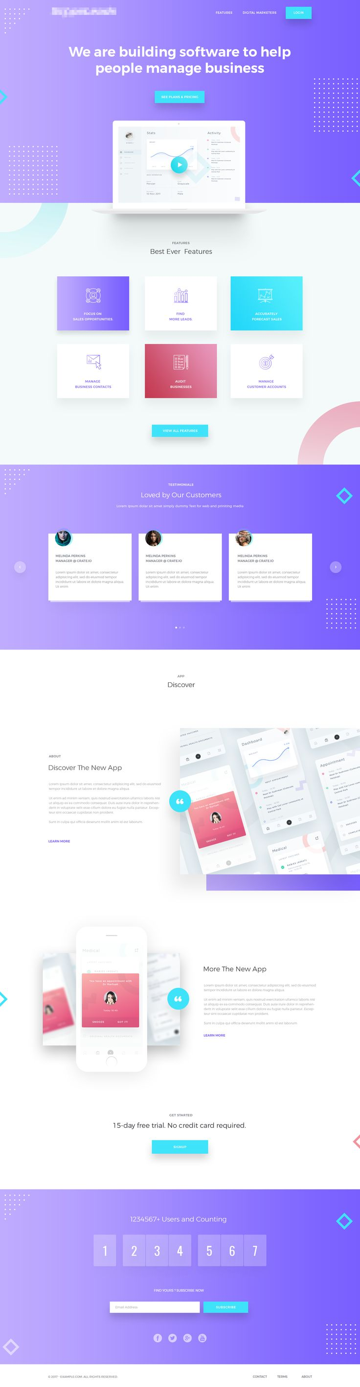 Markeitng app landing page