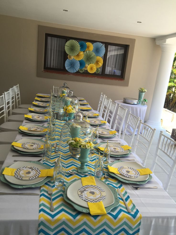 Yellow & Blue Chevron for Baby Shower  Styled by Roses & Pearls