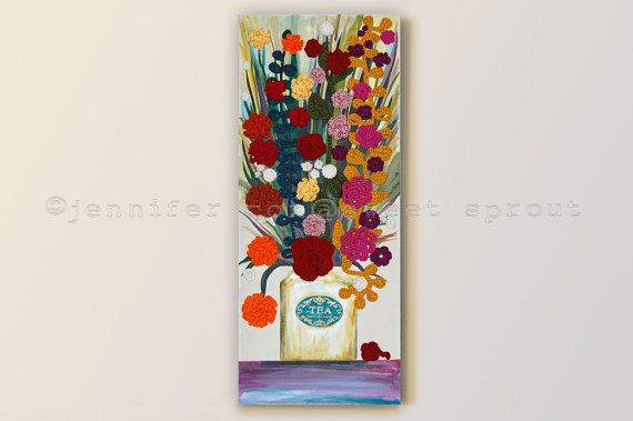 Vintage Tea Can with Flowers 16 x 40 CROCHET von sweetdashsprout