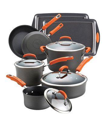 Orange & Black 12-Piece Cookware Set