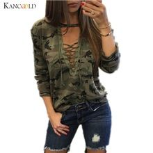 Camouflage Print Women Long Sleeve Slim T-Shirt Fashion V-Neck Lace-up Lady Sexy Tops Army Style Casual Female TShirt Tee //Price: $US $6.92 & FREE Shipping //   #gloves #decor #dresses #skirts #pants #tshirts