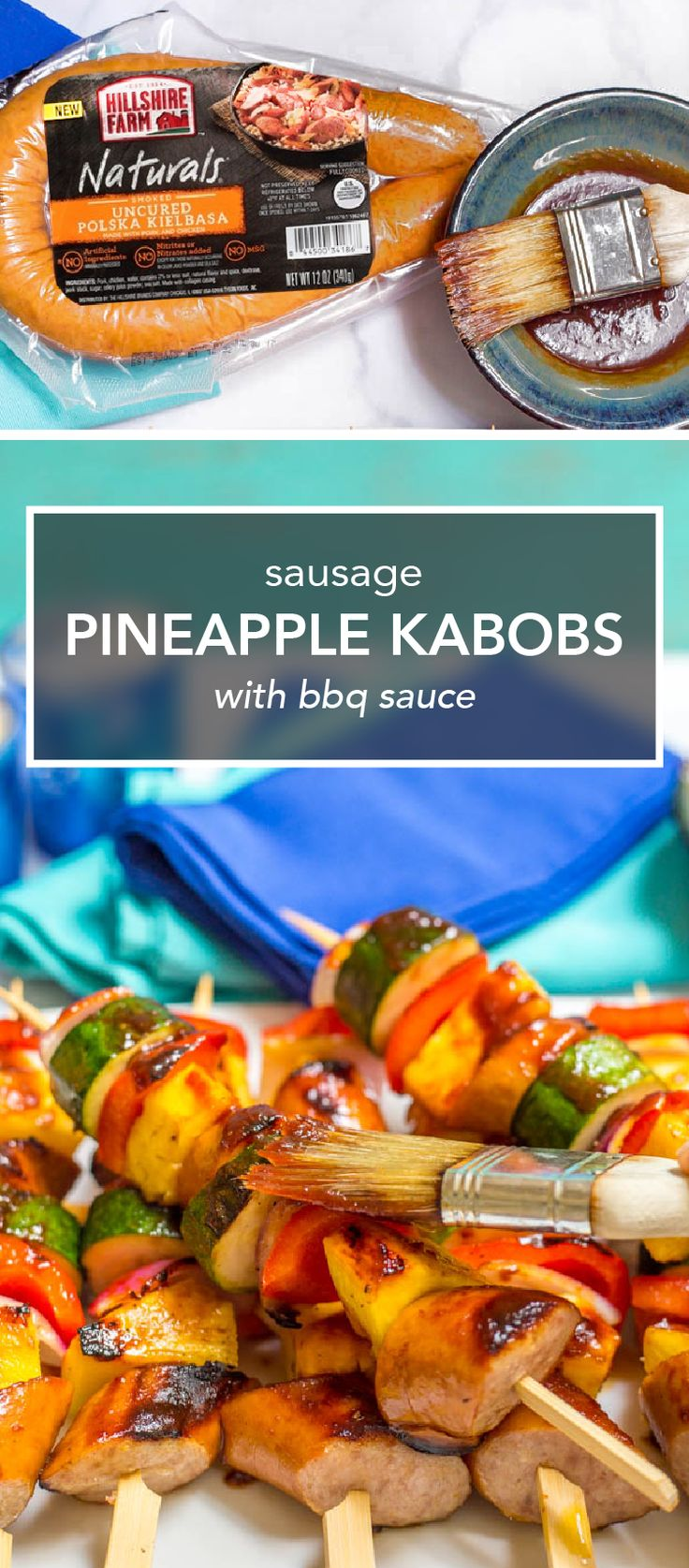 We love any recipe that's easy and delicious, and this dish for Sausage Pineapple Kabobs with BBQ Sauce sure fits the bill. Skewer up Hillshire Farm Naturals Polska Kielbasa Rope, zucchini, red peppers, and pineapple to make these flavorful sticks of tasty summer flavors. And you can easily customize this barbecue creation with your choice of seasonal produce. Now this is a dish your family will request all summer long—and you can find everything you need at Kroger.