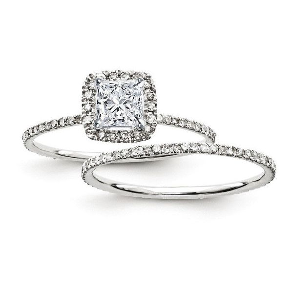 Certified 1.25 Ct. Princess Diamond Halo Bridal Engagement Ring Set... (22,320 MXN) ❤ liked on Polyvore featuring jewelry, rings, princess cut engagement rings, bridal jewelry, bridal jewellery, white gold engagement rings and 14k ring