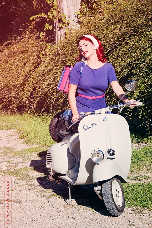 pin-up photography woman red hair vespa vintage italian style 50's