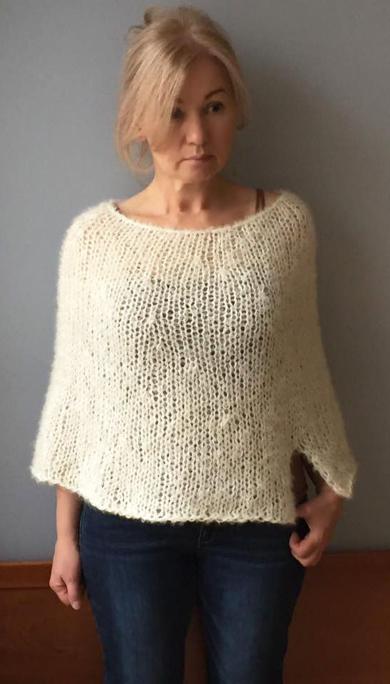 Knit cape-Wool cape-Woman poncho sweater-Knit wool wrap-Cream wool cape-Wool poncho-Wool capelet-Women wool wrap-Cropped Poncho-JPalKnits