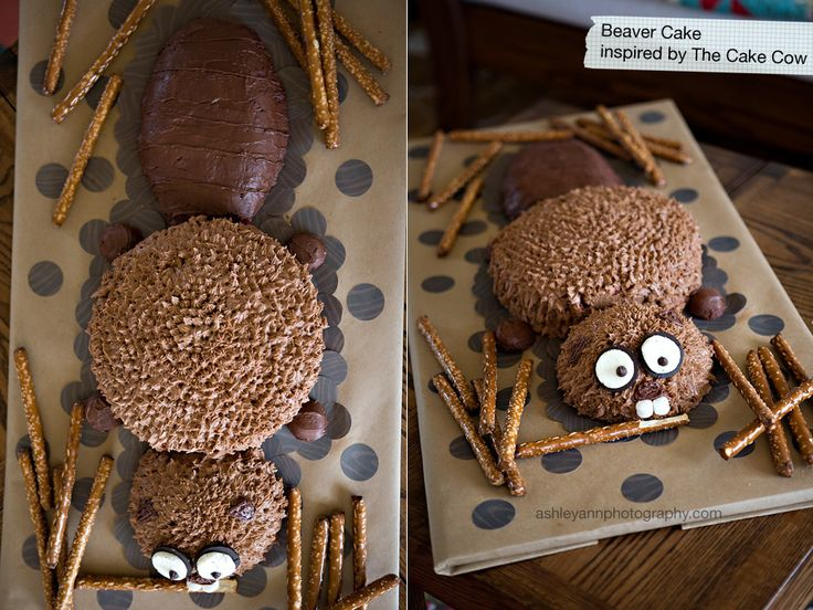Beaver party with a build your own den out of pretzels, choc chips and peanut butter.