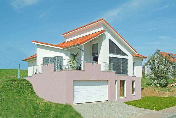 Design Bungalow Kreative Dachlandschaft Großzügige hohe Räume Schrägansicht