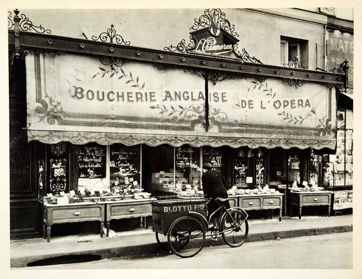 vintage butcher shops | 1954 Rotogravure Butcher Shop Woman Bicycle Cart Street Vendor Roth ...