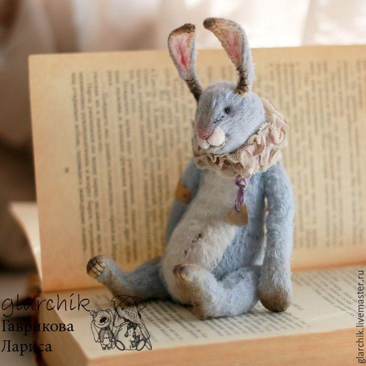 Купить Кролик - голубой, серо-голубой, кролик, авторская игрушка, коллекционная игрушка, друзья тедди