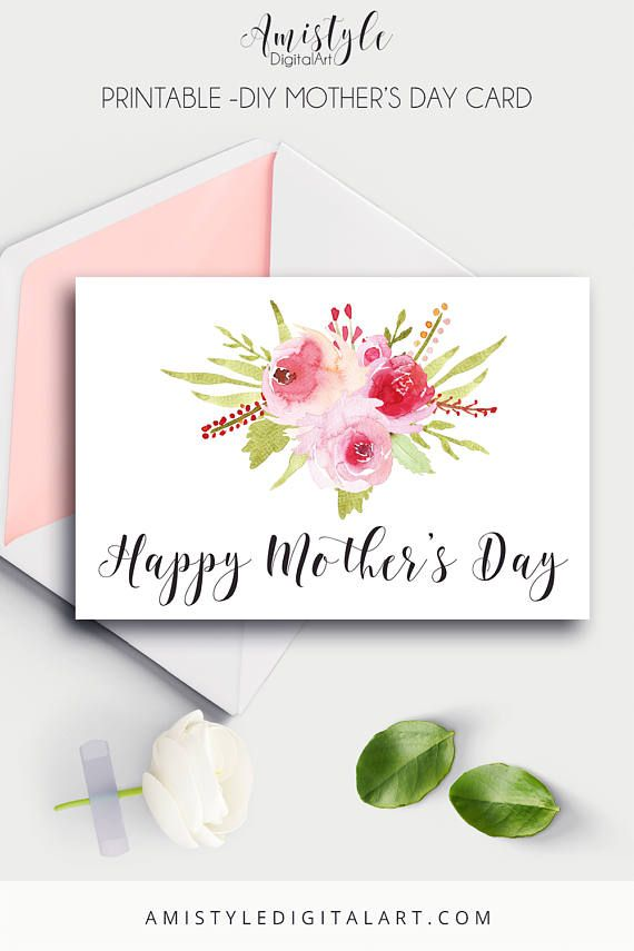 Printable Mother's Day Card -  With watercolor design - Happy Mother's Day - by Amistyle Digital Art on Etsy