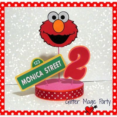 Centerpiece personalized name and age - sesame street - sesame street party decoration - elmo party