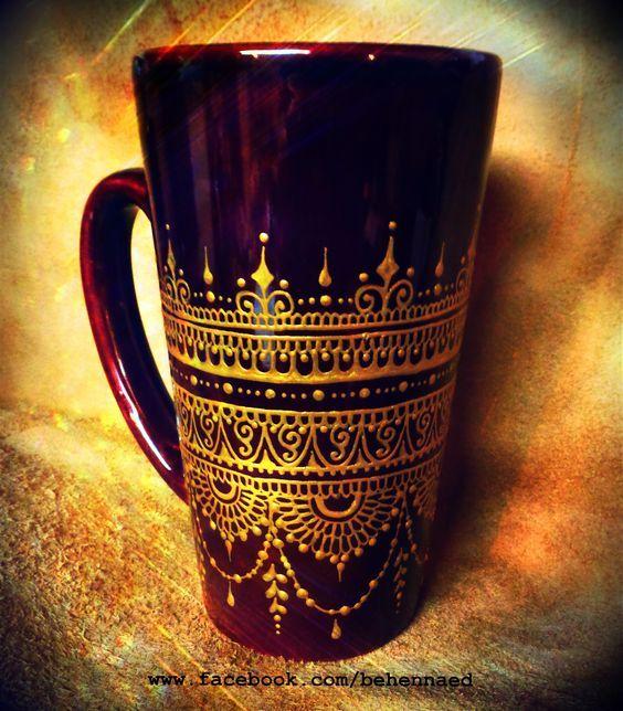 Hand-painted mehndi henna mug --- gorgeous, deep henna brown mug embellished with intricate mehndi designs.  www.facebook.com/behennaed  www.etsy.com/shop/behennaed: