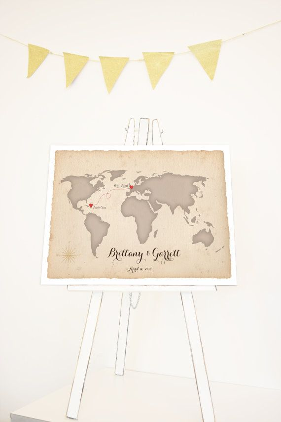 #Wedding guest book with customized world map for guests to sign