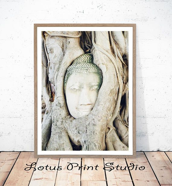 Buddha Print Natural Tree Art Buddha Face Spiritual Wall