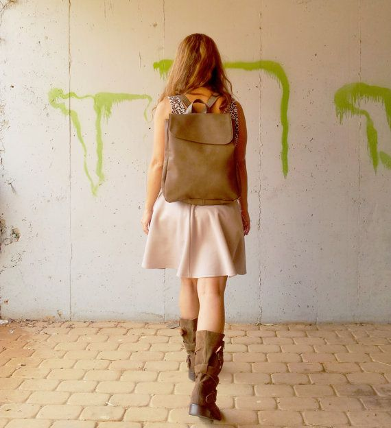 Laptop backpack, brown Bag, women backpack, Women bags, vegan backpack, brown backpack, school bag  UNIQUE DESIGN – WOMEN BACKPACK, Handmade made by
