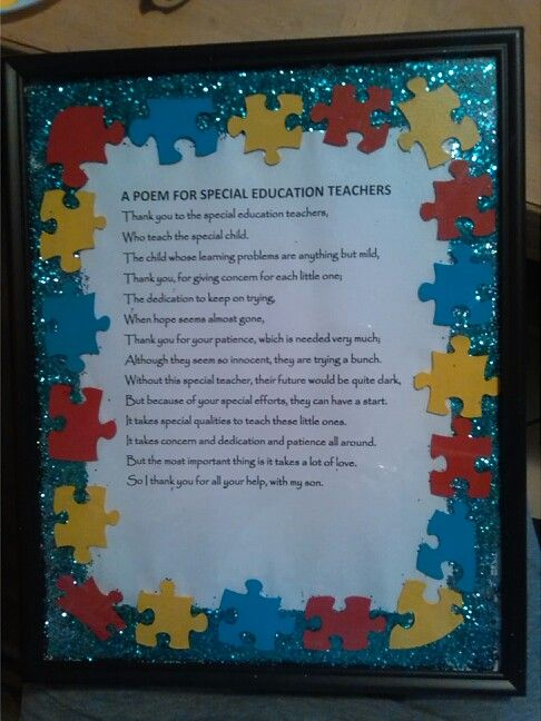 Autism Teacher Appreciation Week puzzlePieces poem I made this for my sons teacher D