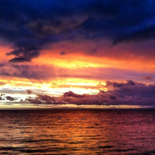 A beautiful, fiery sunset from Tangalooma, Australia