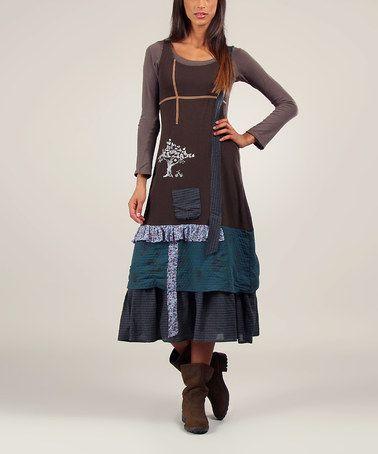 Look at this #zulilyfind! Brown & Blue Zoe Dress & Tee #zulilyfinds