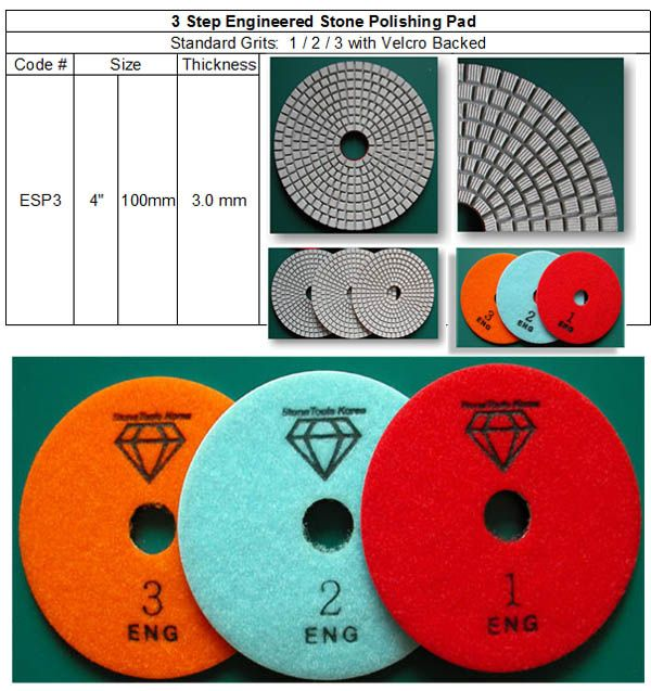 3 Step Engineered Stone Polishing Pads made by RM Tech Korea (StoneTools Korea®) provides the highest quality; world top selling more than 500 sets monthly