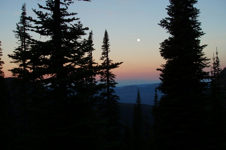 Sunrise & Moon setting from Sperry Chalet, Glacier National Park