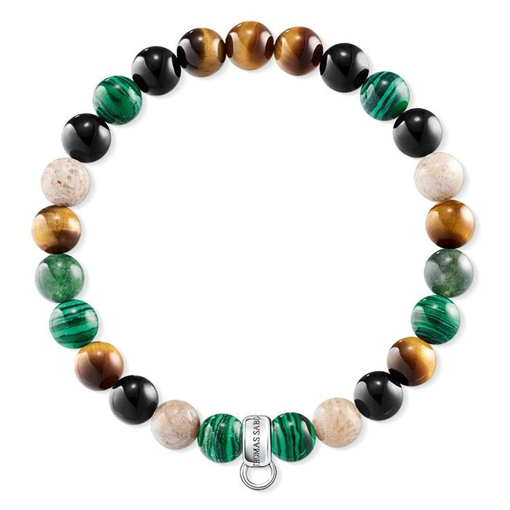 THOMAS SABO charm bracelet from the Sterling Silver Collection. This Charm Club bracelet flatters with the gentle colours of autumn. Here, the green imitation malachite beads combined with heliotrope, tiger's eye, jasper and obsidian capture rays of sun like colourful autumnal foliage. [Artikeltabelle]Category:charm bracelet Material:925 Sterling silver Stones:jasper, tiger's eye, simulated malachite, heliotrope, obsidian Measurements:Width approx. 0,7 cm (0,27 Inch)…