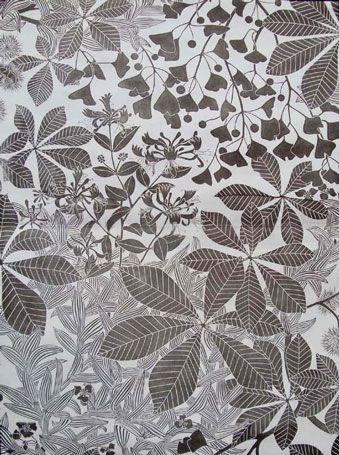 Chestnut - Marthe Armitage 1978 Lino block printed wallpaper
